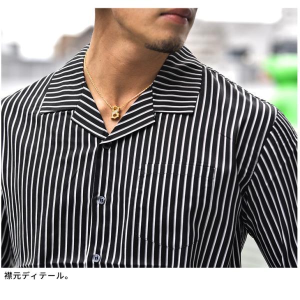 開襟シャツ シャツ メンズ 長袖シャツ 長袖 オープンシャツ オープンカラーシャツ ストレッチ カラーシャツ LL 開襟 Yシャツ 物|evergreen92|18