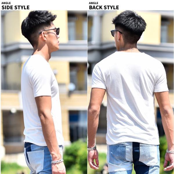 Tシャツ メンズ 半袖 ヘンリーネック tシャツ 無地 キーネック 半袖tシャツ 大きいサイズ トップス  夏 スリム LL|evergreen92|17
