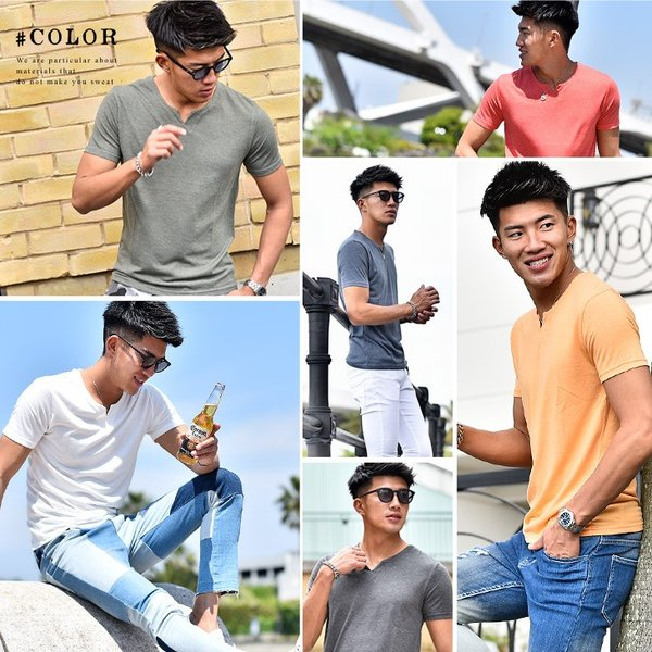 Tシャツ メンズ 半袖 ヘンリーネック tシャツ 無地 キーネック 半袖tシャツ 大きいサイズ トップス  夏 スリム LL|evergreen92|04