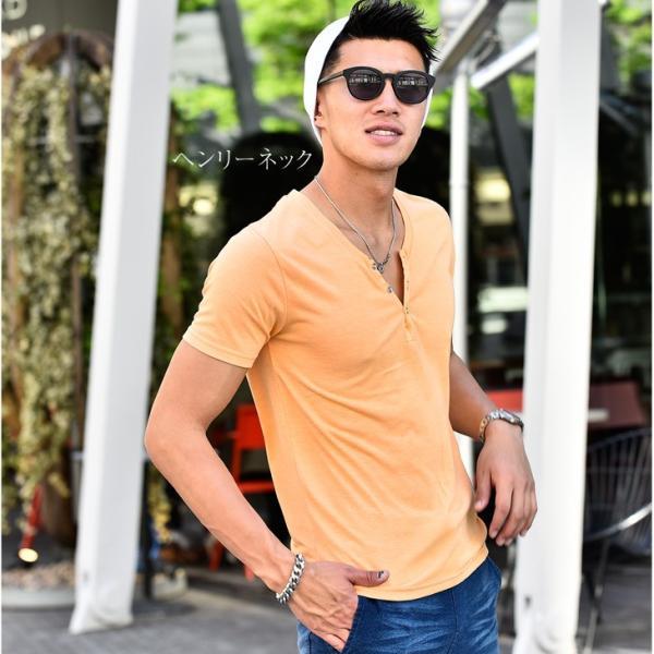 Tシャツ メンズ 半袖 ヘンリーネック tシャツ 無地 キーネック 半袖tシャツ 大きいサイズ トップス  夏 スリム LL|evergreen92|06