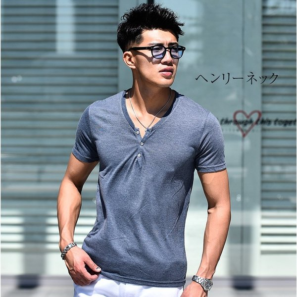 Tシャツ メンズ 半袖 ヘンリーネック tシャツ 無地 キーネック 半袖tシャツ 大きいサイズ トップス  夏 スリム LL|evergreen92|10