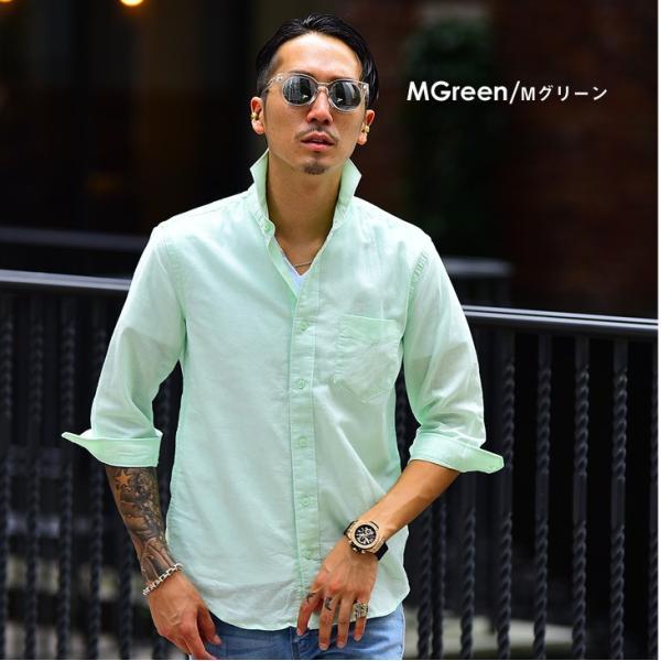 メンズ シャツ 麻 七分袖シャツ 7分袖シャツ 長袖 長袖シャツ 綿麻 生地 コットンリネン カジュアル シャツ 紳士 カッタウェイ ワイシャツ evergreen92 12