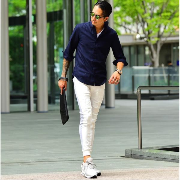 シャツ メンズ 長袖 ホリゾンタルカラー 長袖シャツ 麻シャツ 綿麻シャツ ミリタリーシャツ サマーシャツ カジュアルシャツ|evergreen92|14
