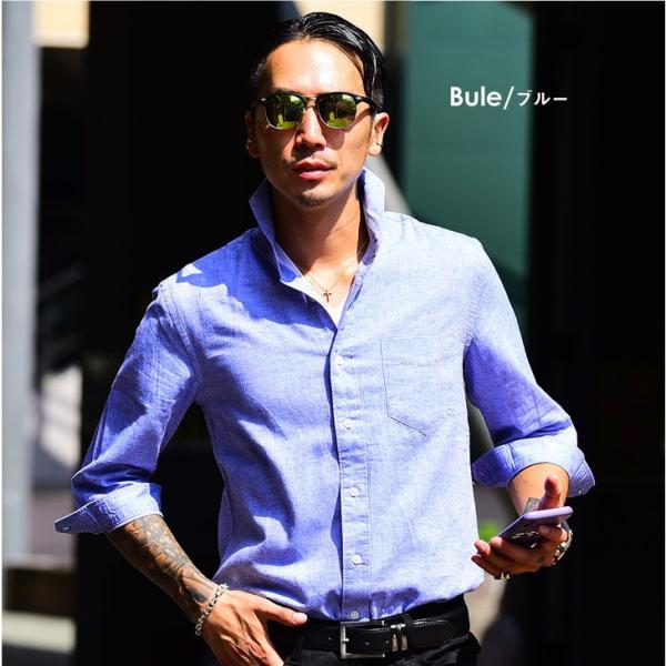 シャツ メンズ 長袖 ホリゾンタルカラー 長袖シャツ 麻シャツ 綿麻シャツ ミリタリーシャツ サマーシャツ カジュアルシャツ|evergreen92|20