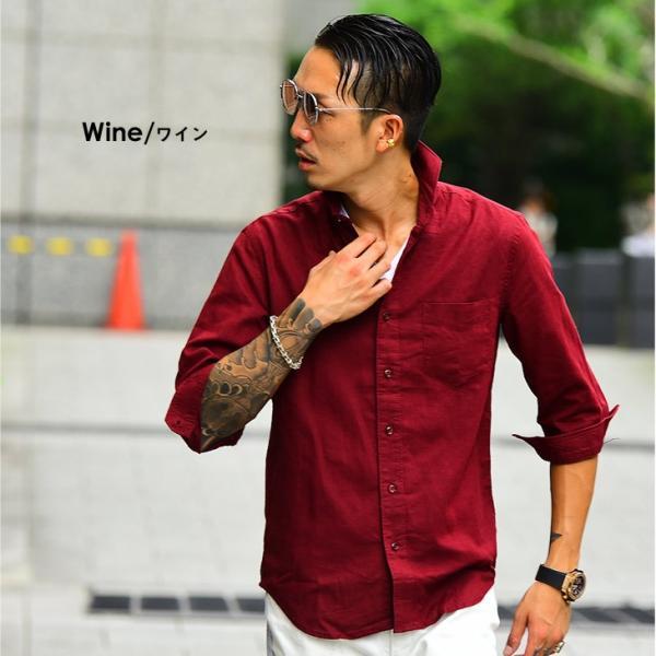 メンズ シャツ 麻 七分袖シャツ 7分袖シャツ 長袖 長袖シャツ 綿麻 生地 コットンリネン カジュアル シャツ 紳士 カッタウェイ ワイシャツ evergreen92 08