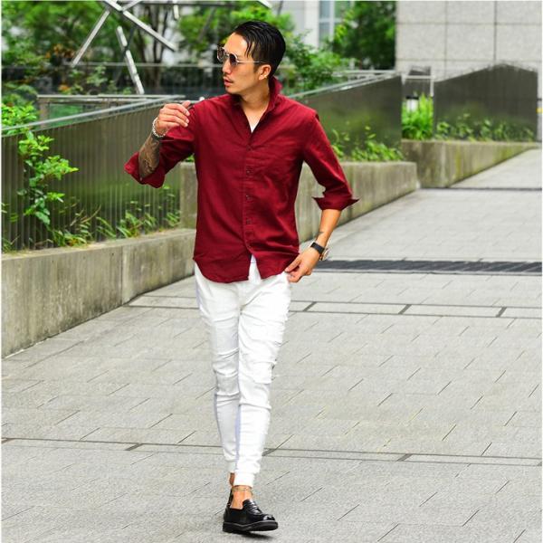 シャツ メンズ 長袖 ホリゾンタルカラー 長袖シャツ 麻シャツ 綿麻シャツ ミリタリーシャツ サマーシャツ カジュアルシャツ|evergreen92|09