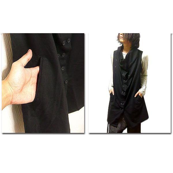 ロングベスト メンズ ベスト サロン系 メンズベスト 黒 ブラック ビジュアル系 ジレ|eversoul|05