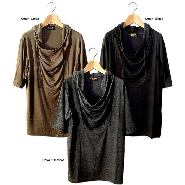 5分袖 Tシャツ ドレープ フード メンズ カットソー サロン系 五分袖 ブラック チャコール|eversoul|02