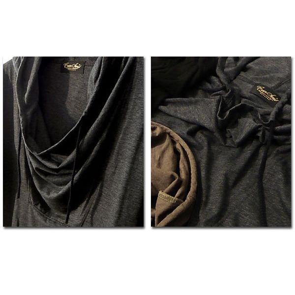 5分袖 Tシャツ ドレープ フード メンズ カットソー サロン系 五分袖 ブラック チャコール|eversoul|04