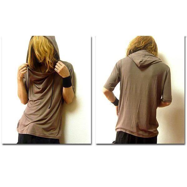 5分袖 Tシャツ ドレープ フード メンズ カットソー サロン系 五分袖 ブラック チャコール|eversoul|05