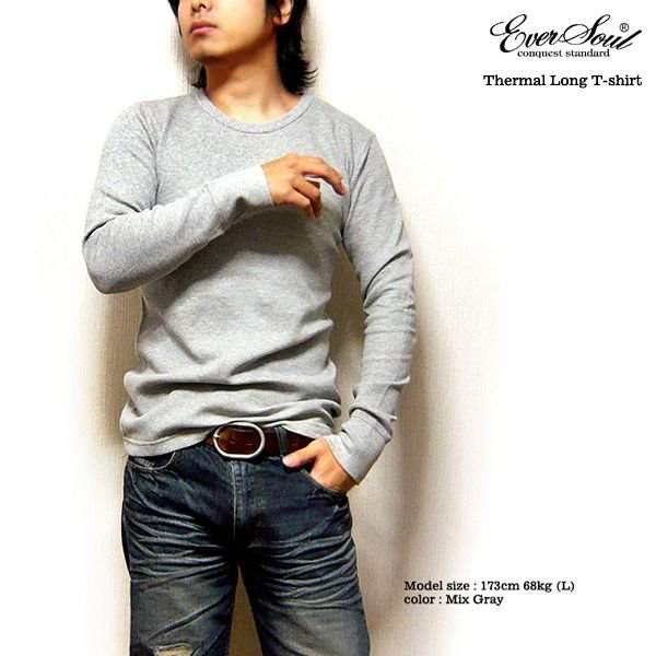 サーマル ロンT 無地 メンズ 長袖 ロング Tシャツ 厚手 白 黒 ブラック 防寒 インナー 杢グレー|eversoul|02