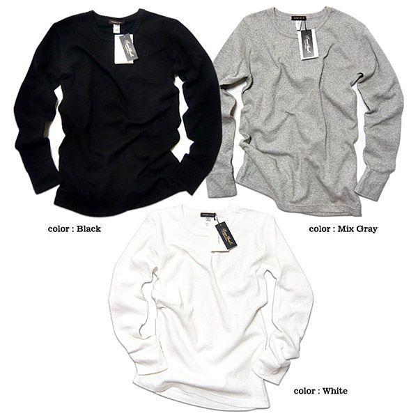 サーマル ロンT 無地 メンズ 長袖 ロング Tシャツ 厚手 白 黒 ブラック 防寒 インナー 杢グレー|eversoul|03