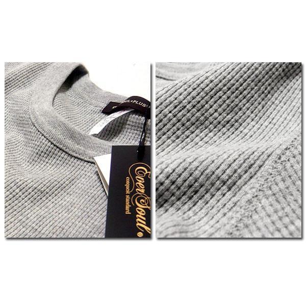 サーマル ロンT 無地 メンズ 長袖 ロング Tシャツ 厚手 白 黒 ブラック 防寒 インナー 杢グレー|eversoul|06