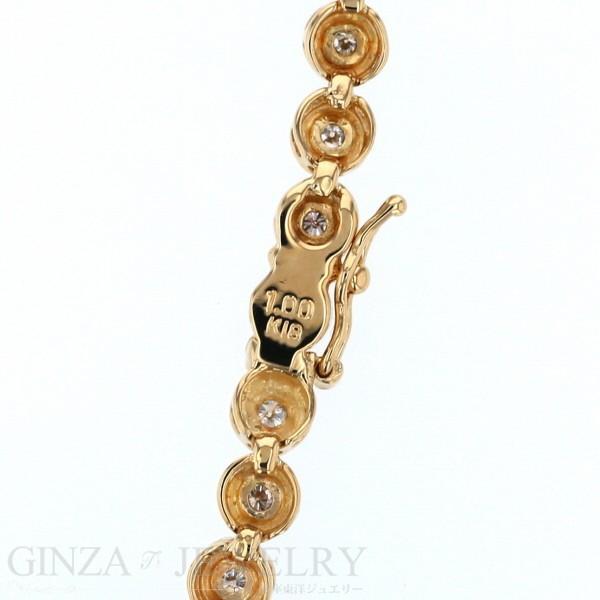 K18YG イエローゴールド ブレスレット ダイヤモンド 1.00ct テニスブレスレット デザイン 18.5cm【新品仕上済】【zz】