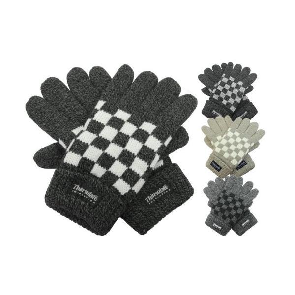 手袋 メンズ シンサレート紳士ニット手袋 ブロックチェック柄 特価1,500円 ネコポス対応 全国送料無料