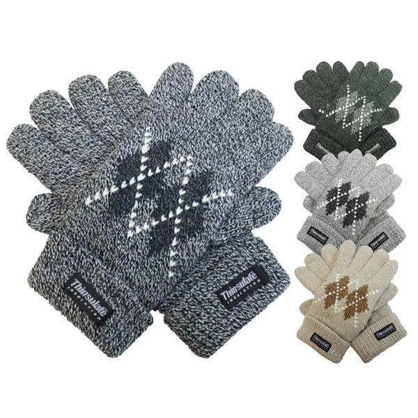 手袋 メンズ 紳士ニット手袋 アーガイル柄 特価1,500円 ネコポス対応 全国送料無料