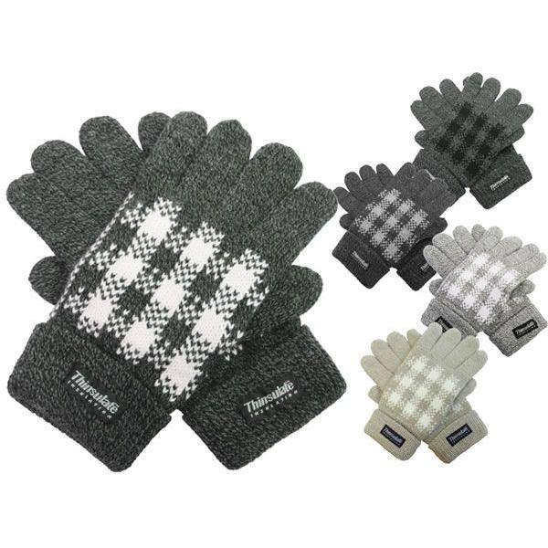 手袋 メンズ 紳士ニット手袋 バッファローチェック柄 特価1,500円 ネコポス対応 全国送料無料