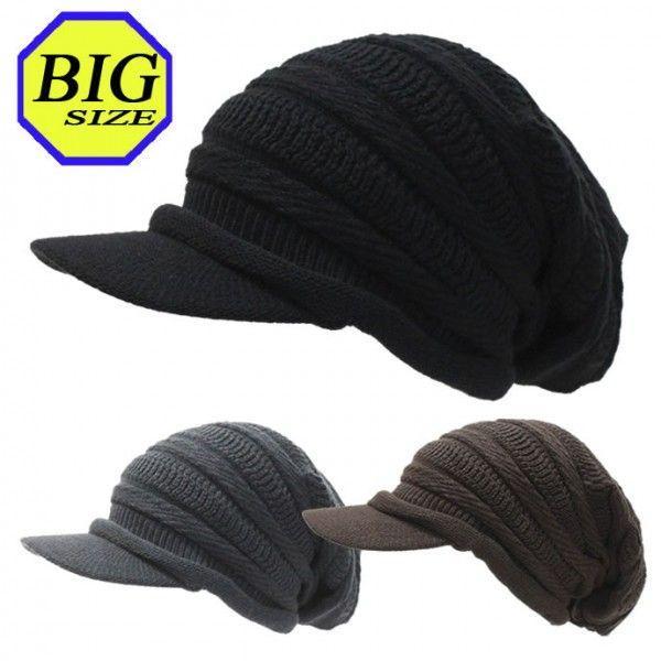 つば付きニット帽 メンズ 大きいサイズ キャスケット 65cm対応 ボーダー編み|exas