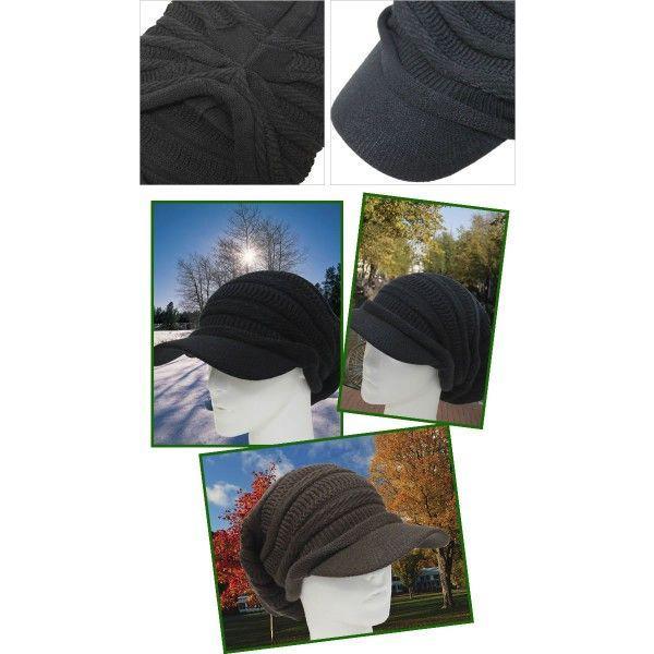 つば付きニット帽 メンズ 大きいサイズ キャスケット 65cm対応 ボーダー編み|exas|02