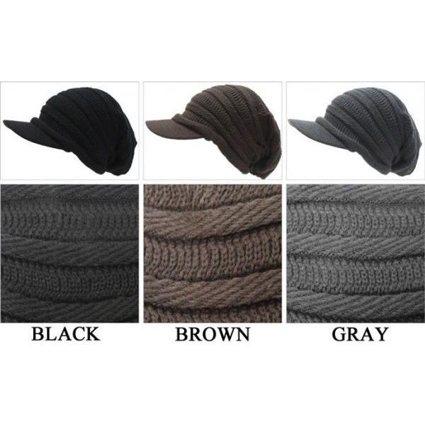 つば付きニット帽 メンズ 大きいサイズ キャスケット 65cm対応 ボーダー編み|exas|03