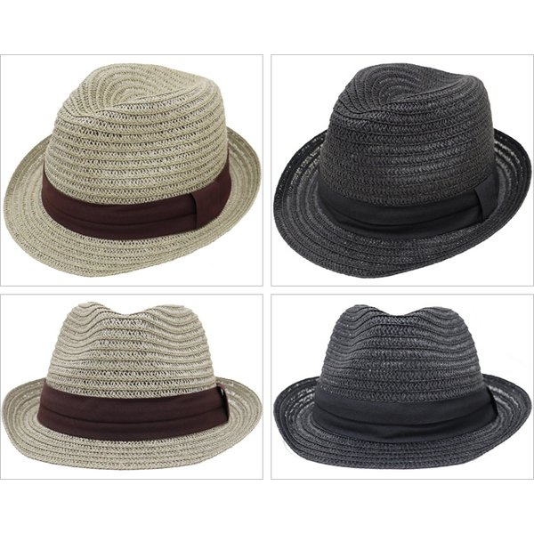 麦わら帽子 メンズ 大きいサイズ ストローハット 65cm 61cm ブレードペーパー 無地|exas|02