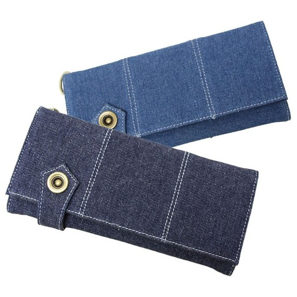 03cbfb4152e9 長財布 メンズ レディース ロングウォレット デニムスナップタイプ チェーン付き ゆうパケット可(全国