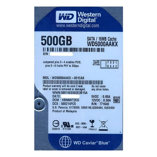 Western Digital製HDD WD5000AAKX 500GB SATA600 7200