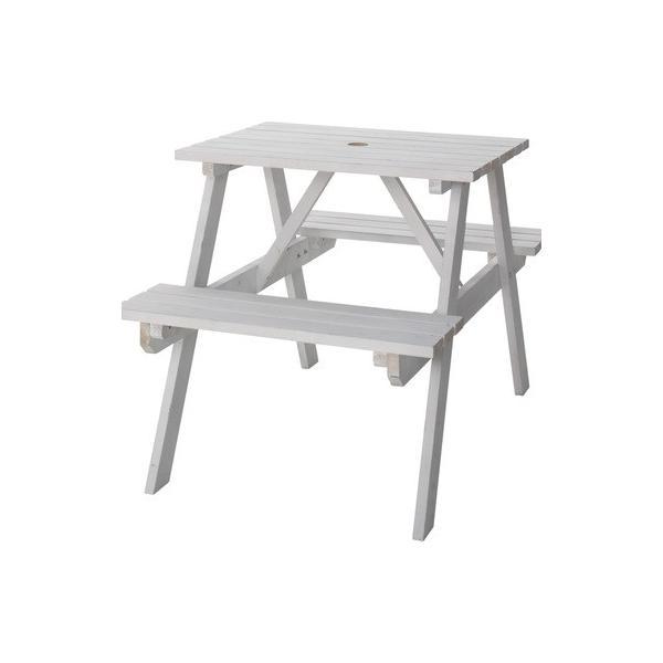 テーブル&ベンチ W75cm(ホワイト/白)〈ODS-91WH〉ガーデン 庭 テラス プールサイド パラソル使用可