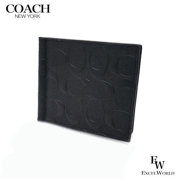 new concept b7e37 c632a COACH コーチ アウトレット メンズ 二つ折り財布 マネークリップ カードケース ウォレット シグネチャー F26107 BLK ブラック