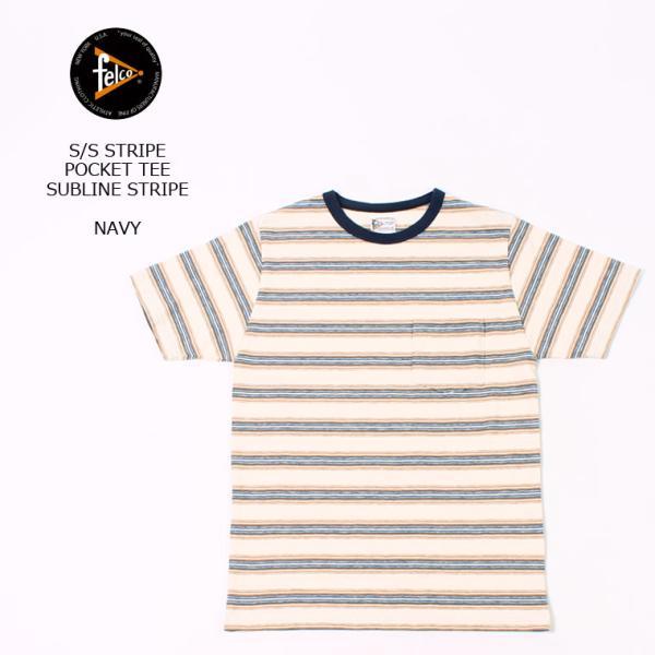 FELCO フェルコ  S/S STRIPE POCKET TEE SUBLIME STRIPE - NAVY Tシャツ メンズ