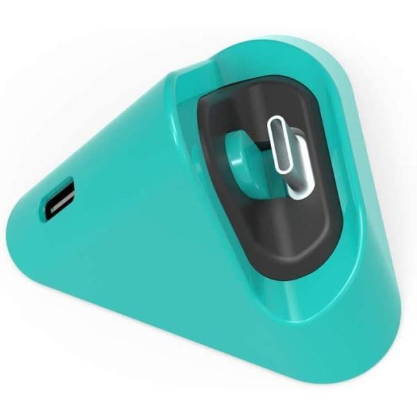 NintendoSwitchLite用かわいい丸っこいさんかくミニ充電器ターコイズ軽量・コンパクトでどこでも充電 -B08XQ3