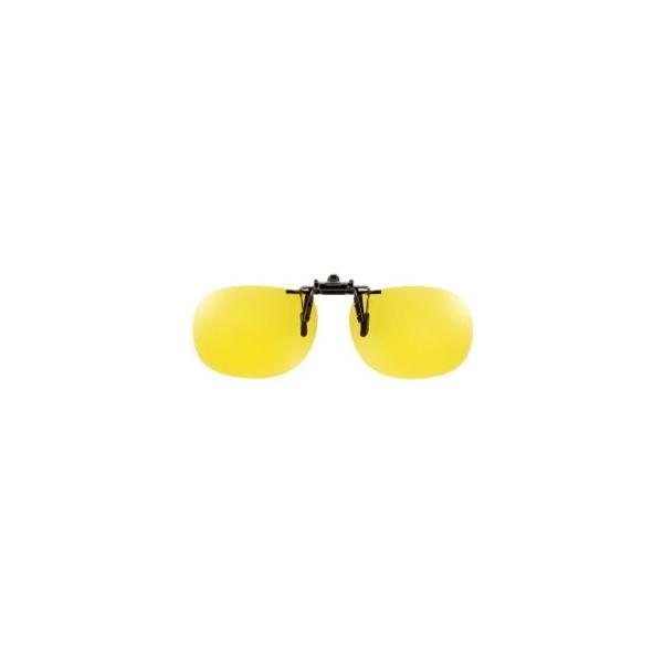 クリップオン メガネの上 偏光サングラス 夜間 雨天 運転 夜釣り用 ルミナスイエローレンズ Mサイズ