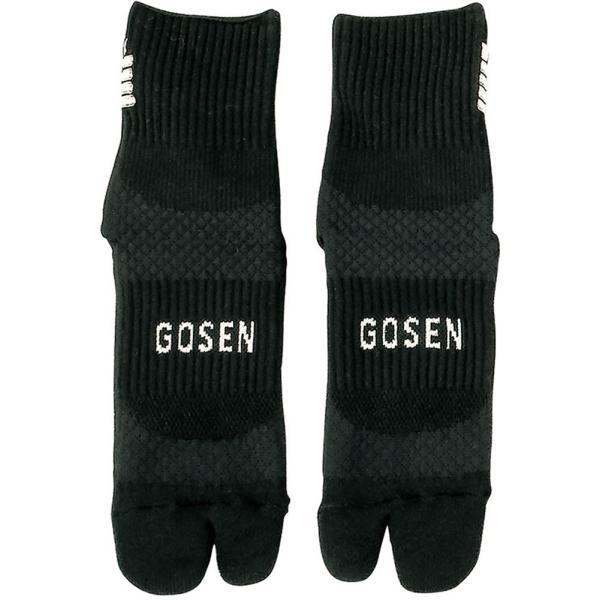 GOSEN(ゴーセン) 高機能ソックス 足首フィット&母指球サポート 足袋タイプ 22-25cm テニス・バドミントン ブラック