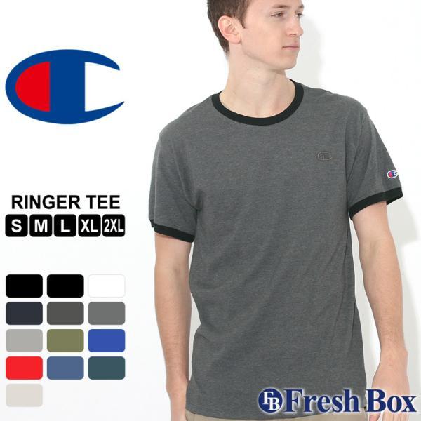 チャンピオン Tシャツ 半袖 無地 メンズ 大きいサイズ USAモデル ブランド 半袖Tシャツ ロゴ アメカジ リンガーTシャツ f-box