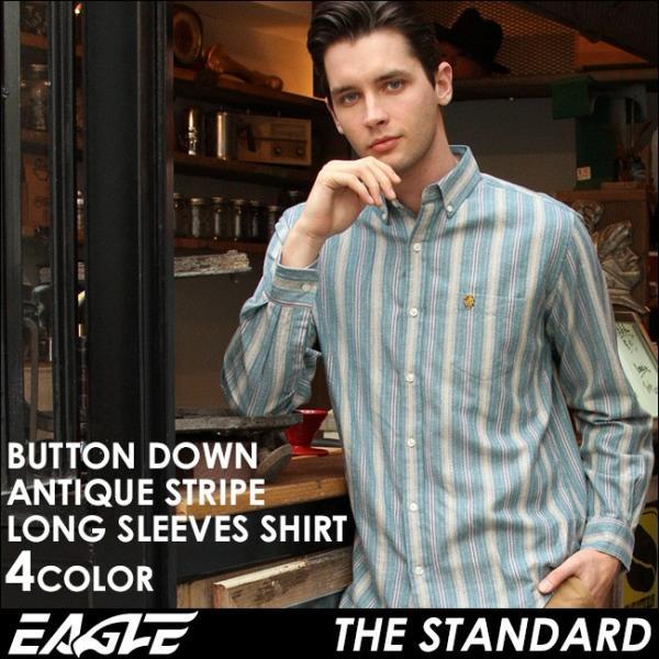 シャツ 長袖 メンズ ボタンダウン ストライプ 大きいサイズ 日本規格 89023|ブランド EAGLE THE STANDARD イーグル|長袖シャツ ワイシャツ Yシャツ カジュアル|f-box