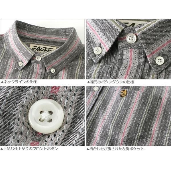 シャツ 長袖 メンズ ボタンダウン ストライプ 大きいサイズ 日本規格 89023|ブランド EAGLE THE STANDARD イーグル|長袖シャツ ワイシャツ Yシャツ カジュアル|f-box|03