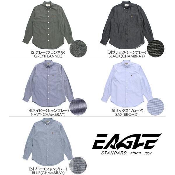 シャツ 長袖 ボタンダウン シャンブレー フランネル 大きいサイズ 日本規格 ブランド EAGLE THE STANDARD イーグル 長袖シャツ ネルシャツ カジュアル f-box 02