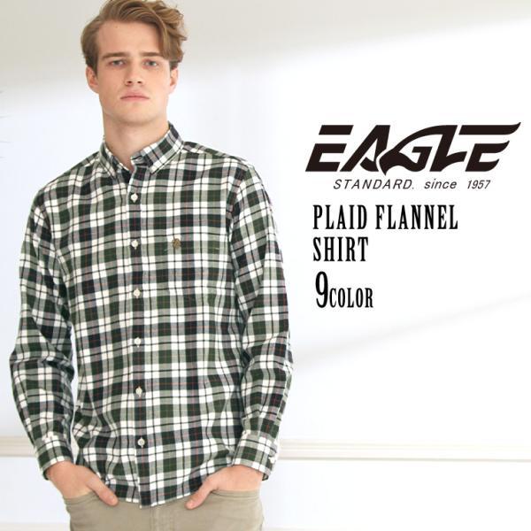 シャツ 長袖 厚手 メンズ ボタンダウン フランネル チェック柄 ネルシャツ 大きいサイズ 日本規格|ブランド EAGLE THE STANDARD イーグル|長袖シャツ|f-box
