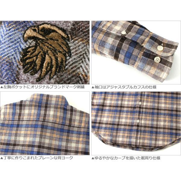 シャツ 長袖 厚手 メンズ ボタンダウン フランネル チェック柄 ネルシャツ 大きいサイズ 日本規格|ブランド EAGLE THE STANDARD イーグル|長袖シャツ|f-box|06