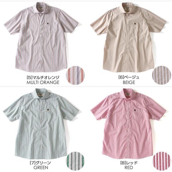 シャツ 半袖 メンズ ワイドカラー ストライプ 大きいサイズ 日本規格 ブランド EAGLE THE STANDARD イーグル 半袖シャツ ビジネス f-box 03