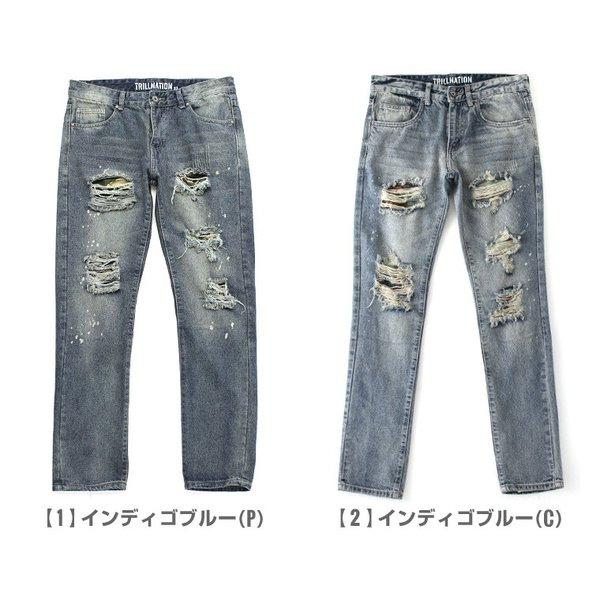 ジーンズ メンズ ダメージ 大きいサイズ メンズ ダメージジーンズ ダメージデニム デニム ジーンズ ダメージ加工 デニムパンツ メンズ f-box 02