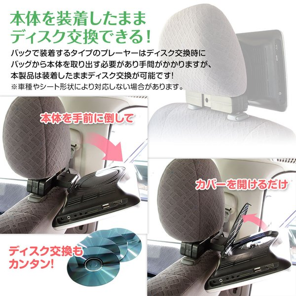 DVDプレーヤー 10.1インチ ポータブル 車載 家庭用 ACアダプター リアモニター ヘッドレスト HDMI iPhone スマートフォン CPRM CD SD|f-innovation|05