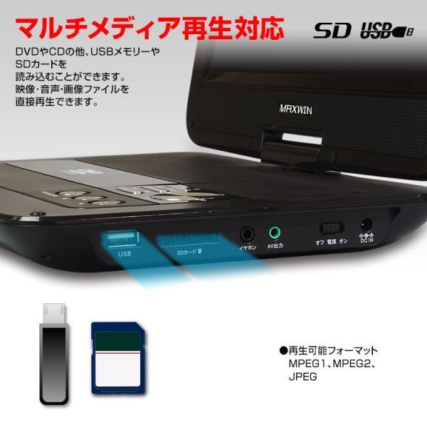 DVDプレーヤー ポータブル 10.1インチ CPRM対応 車載 シガー 家庭用 ACアダプター バッテリー DVD CD SD USB MPEG JPEG f-innovation 05