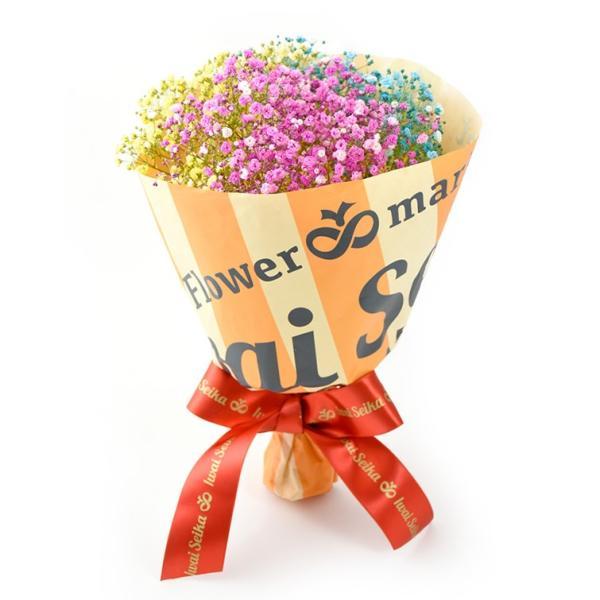 キャンディブーケ3本 七色に輝く いわい生花のロマンチック かすみ草お試し3色|f-iwai