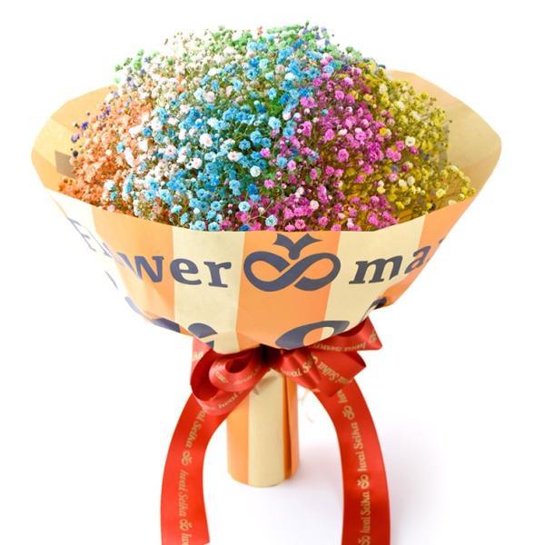 キャンディブーケ10本 七色に輝く いわい生花のロマンチック かすみ草10色 f-iwai