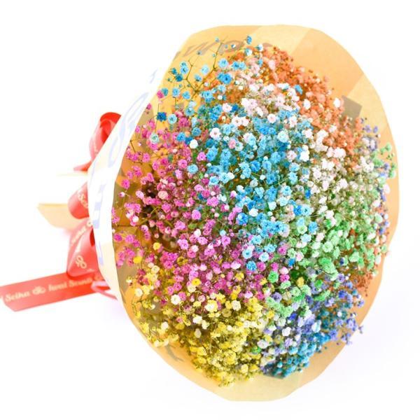 キャンディブーケ10本 七色に輝く いわい生花のロマンチック かすみ草10色 f-iwai 02