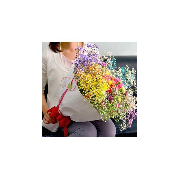 誕生日 花束 プレミアムスマイルブーケ かすみ草 カーネーション |f-iwai|02