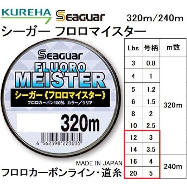 クレハ/Kureha シーガー フロロマイスター 320m/240m 12, 14, 16, 20Lb 3, 3.5, 4, 5号 フロロカーボンライン国産・日本製 Seaguar(定形外郵便対応)