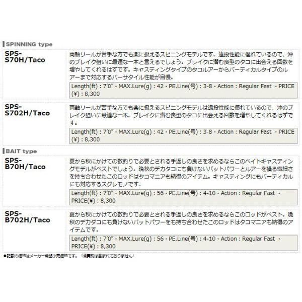 (5) メジャークラフト ソルパラ タコシリーズ (SPS-B702H/Taco)(2ピース)(ベイトモデル)