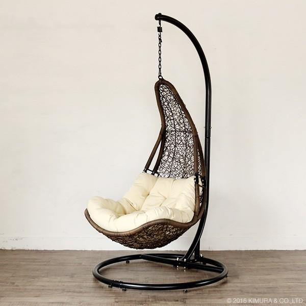 C501PBRW 大型 ハンギングチェア ハンモックチェア 椅子 ブラウン 撥水 クッション ナチュラル バリ風 アウトドア リゾート アジアン 北欧 屋外 たまご型|f-news|02
